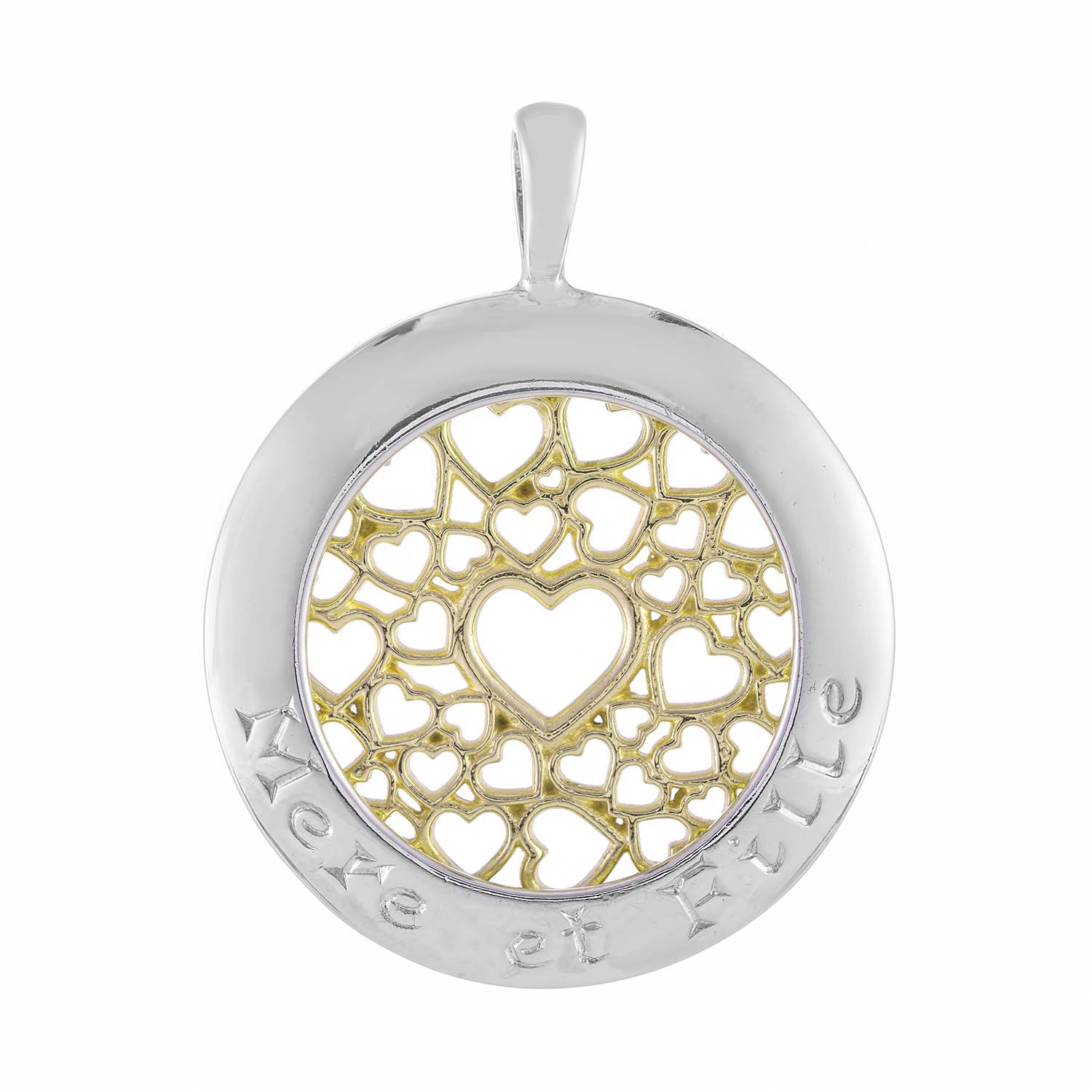 Sterling Silver and 9ct Yellow Gold Pendant (Mother & Daughter)