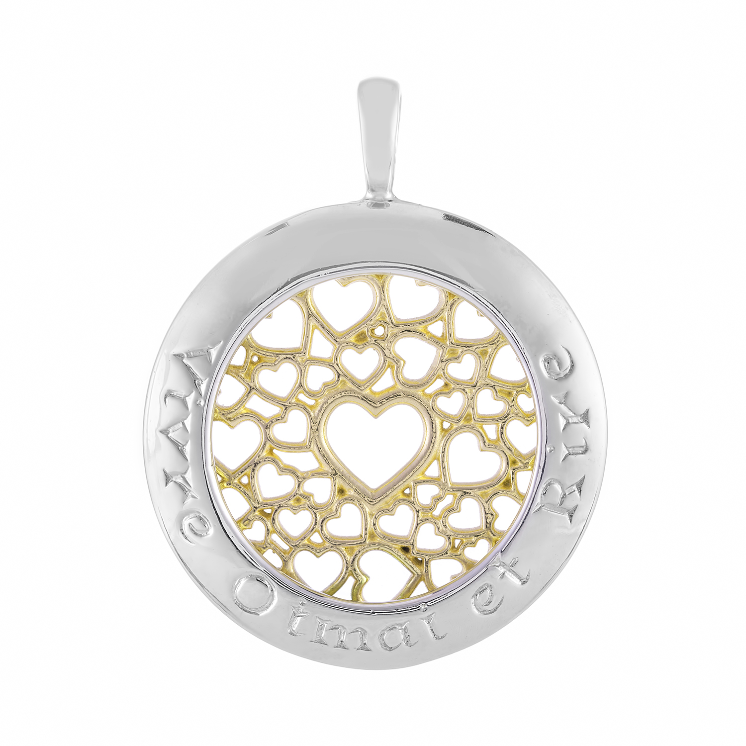 Sterling Silver and 9ct Yellow Gold Pendant (Live Love Laugh)
