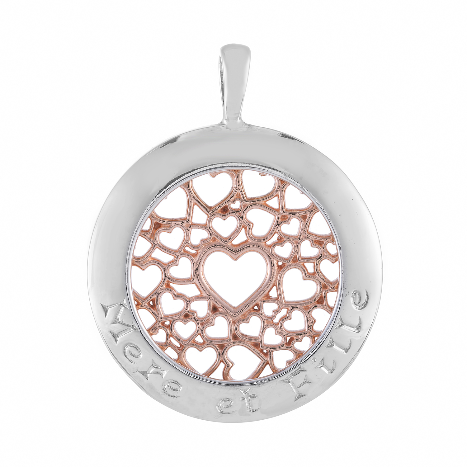 Sterling Silver and 9ct Rose Gold Pendant (Mother & Daughter)