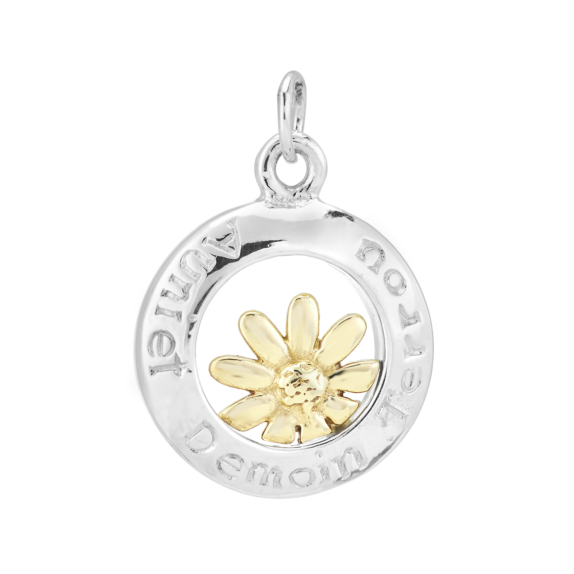 Sterling Silver and 9ct Yellow Gold Charm / Pendant (Today Tomorrow Always)