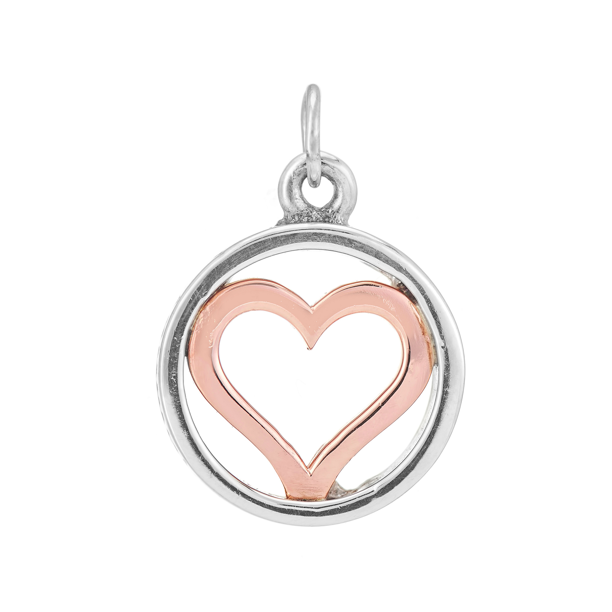 Sterling Silver and 9ct Rose Gold Charm / Pendant (Forever in my heart)