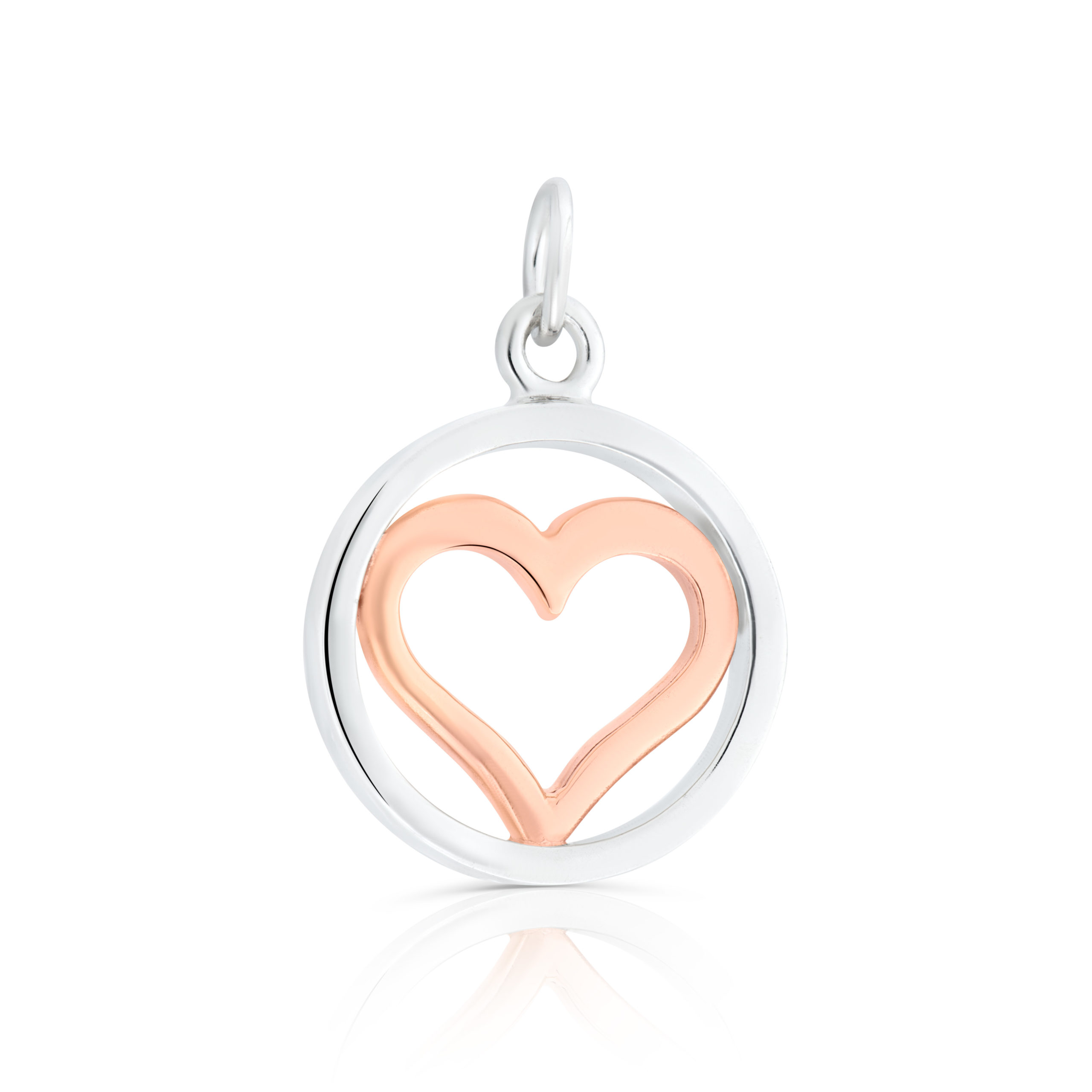 Sterling Silver & 9ct Rose Gold Heart Charm / Pendant