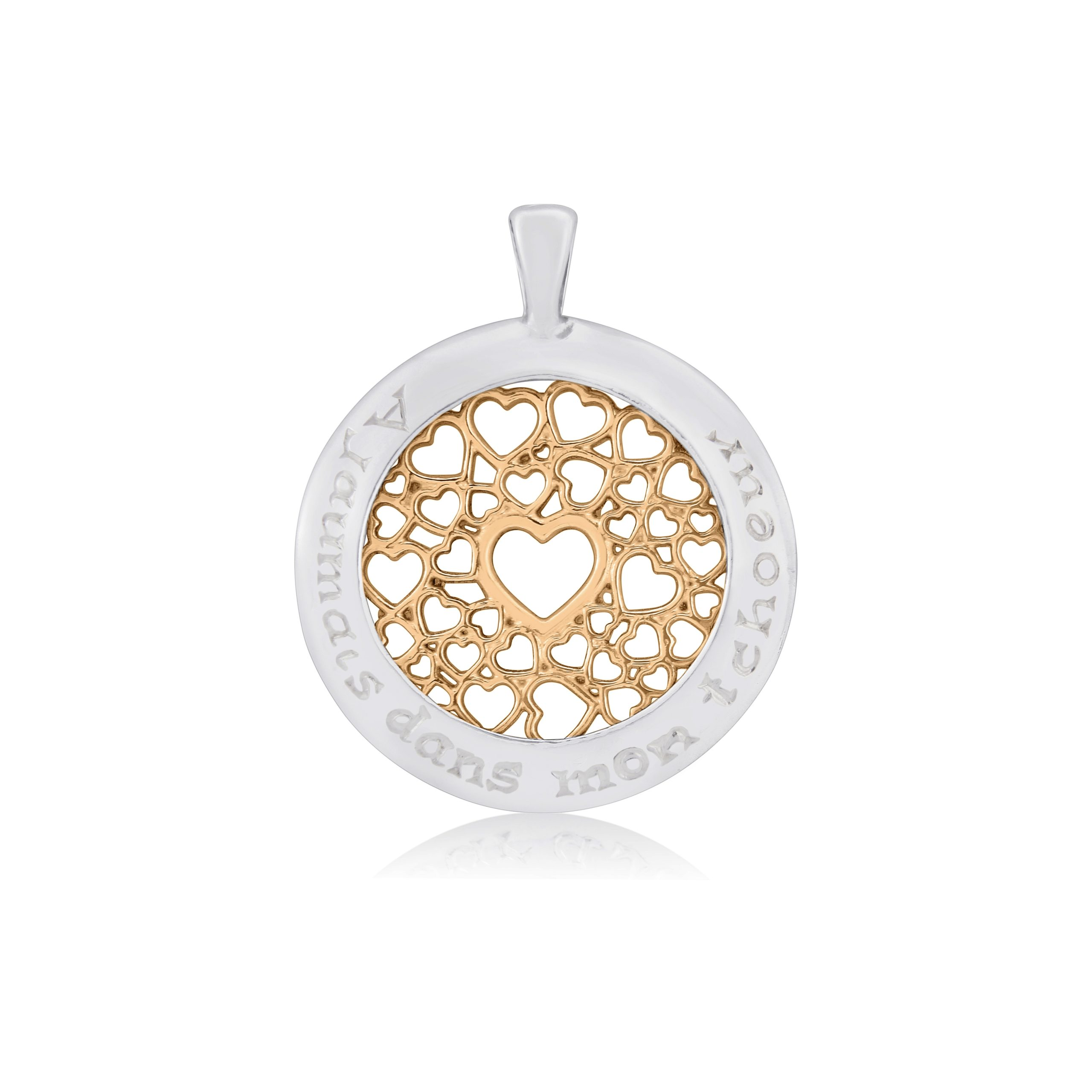 Sterling Silver & 9ct Rose Gold Multi Heart Pendant