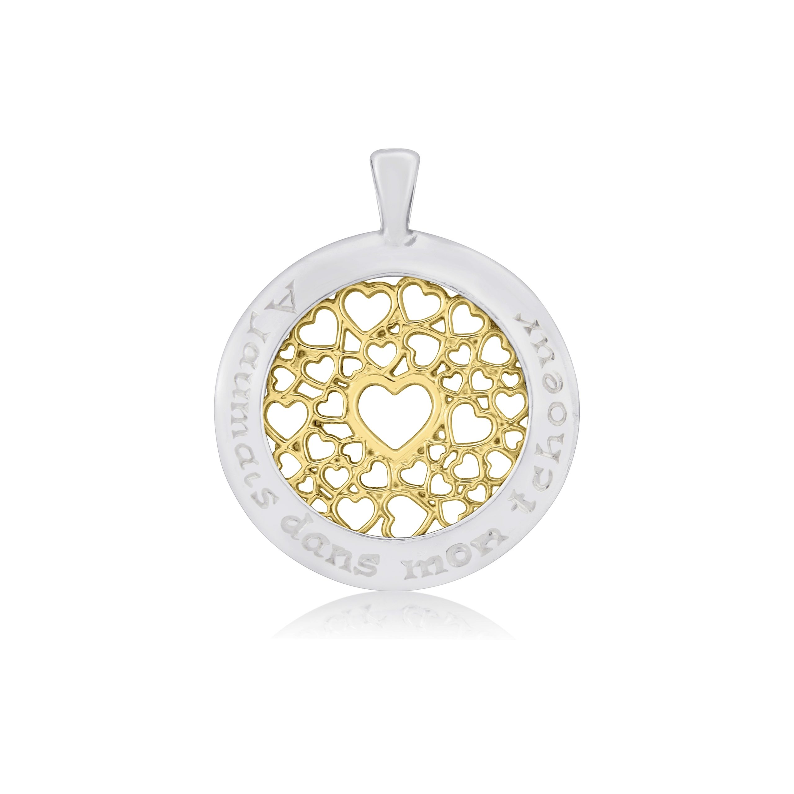 Sterling Silver & 9ct Yellow Gold Multi Heart Pendant