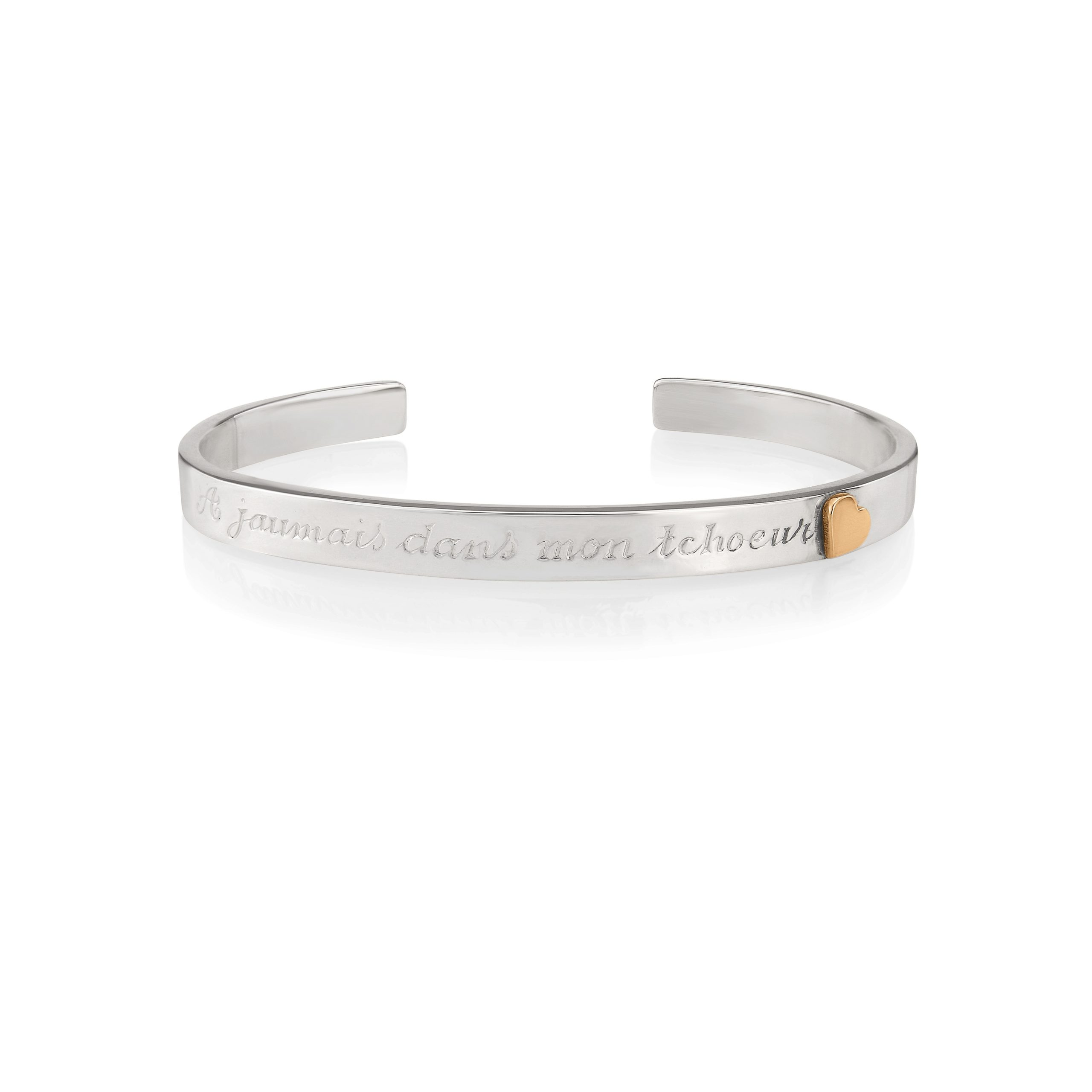 Sterling Silver & 9ct Rose Gold Bangle (Forever in my heart)